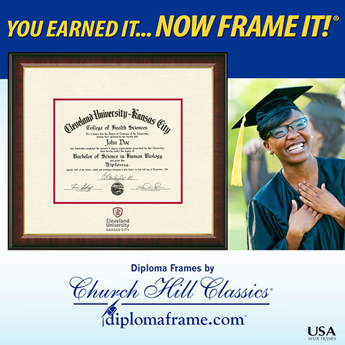 Graduation frame for diploma with grad happily standing next to it